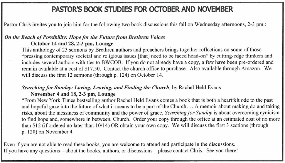 Read about the Fall 2015 Book Study Topics.