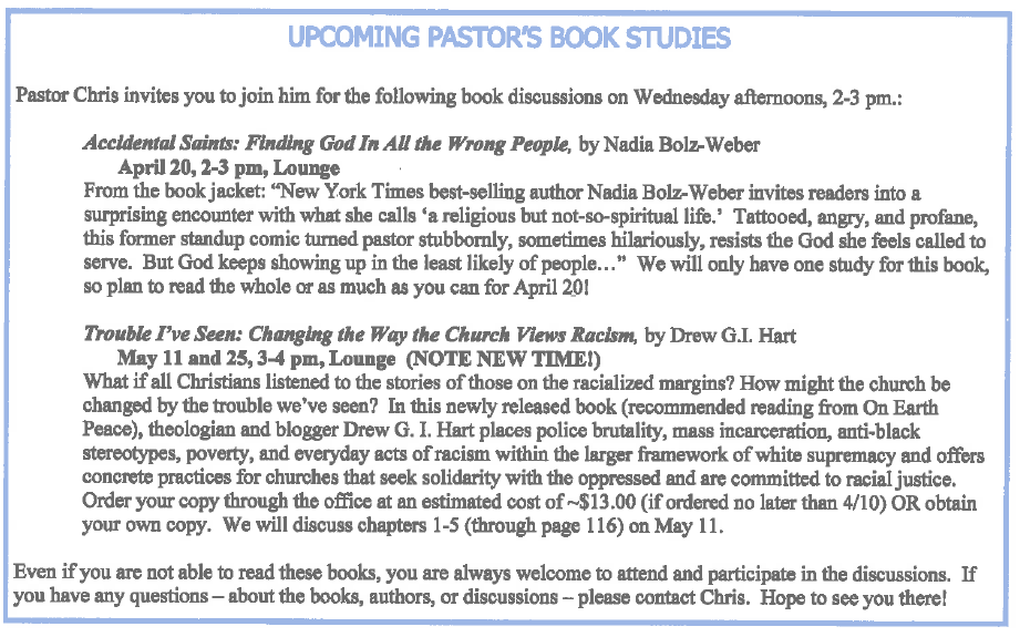 2016 April - May Book Study